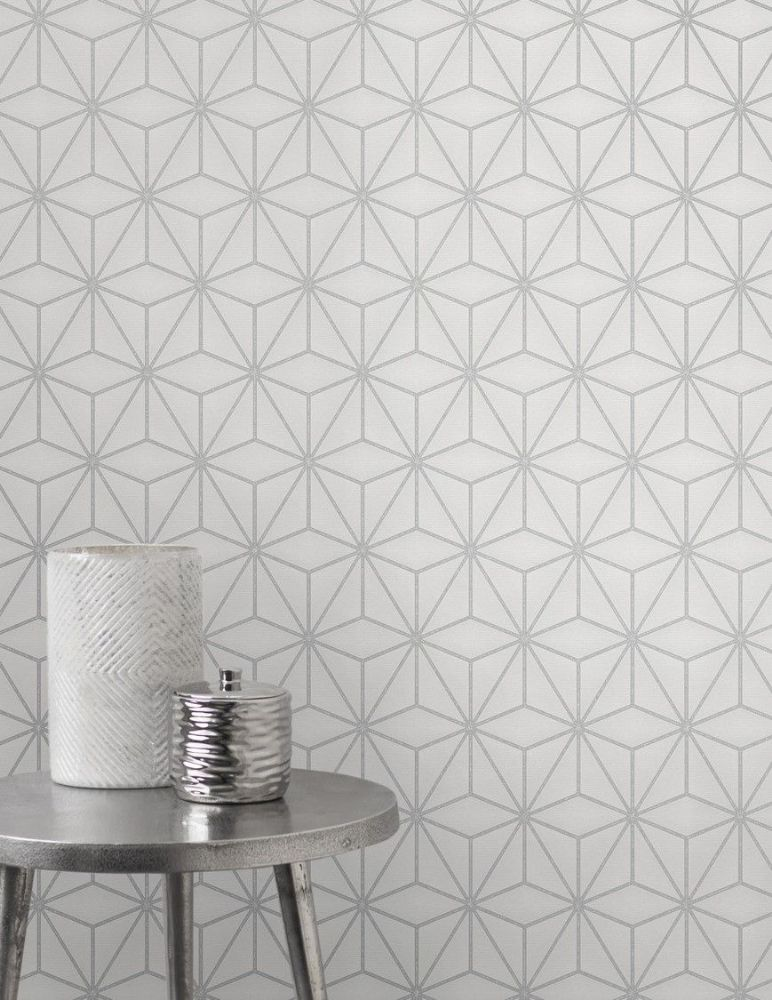Fine Decor Pulse Star Geo Silver FD42338 Wallpaper